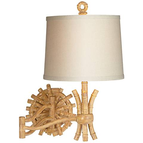 "Elegant Bamboo 11"" Wide Plug-In Swing Arm Wall Lamp"