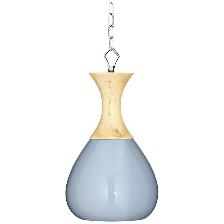 "Sea Breeze Blue Ceramic and Wood 10"" Wide Mini Pendant Light"