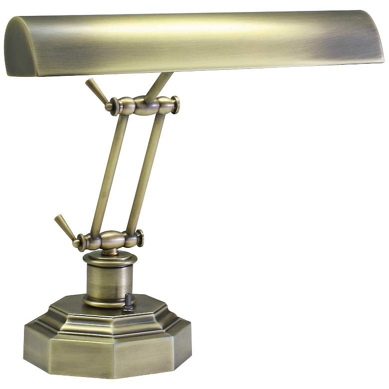 """House of Troy Octagon 12 1/2""""H Antique Brass Piano Desk Lamp"""