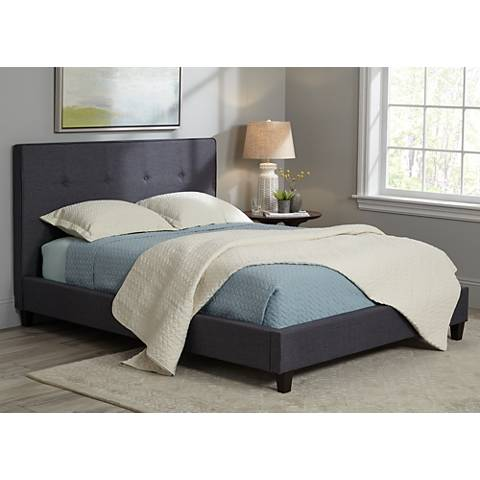 Corona Mid-Century Graphite Fabric Upholstered Queen Bed
