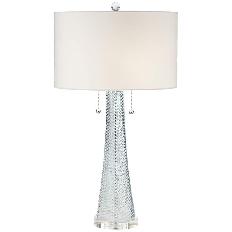 Possini Euro Miriam Aqua Blue Glass Table Lamp