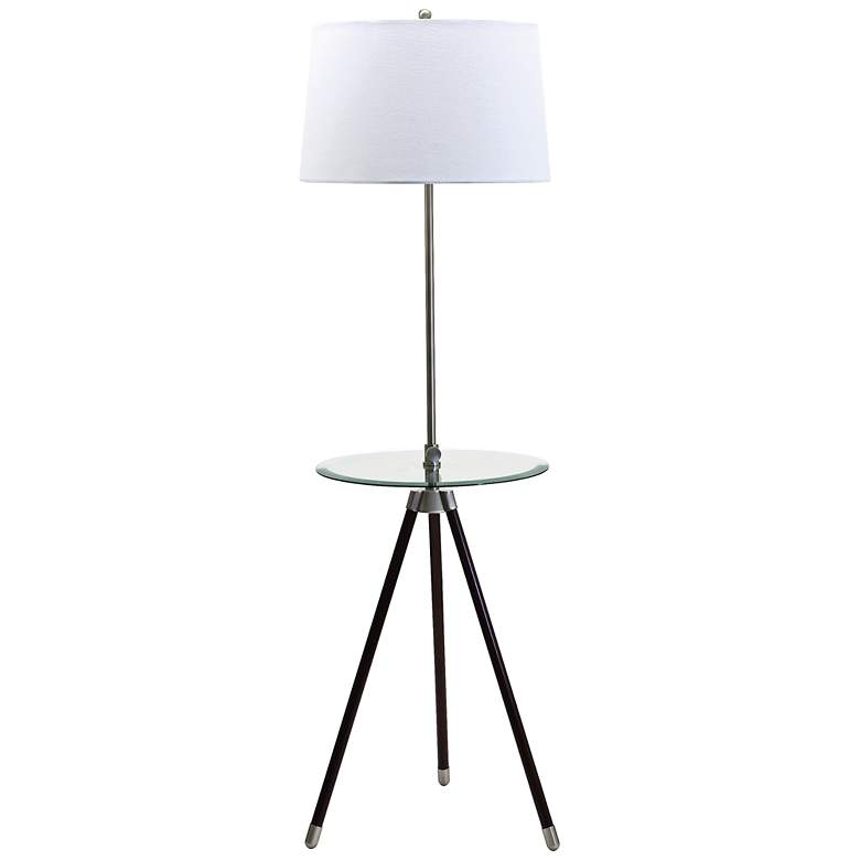 House Of Troy Club Collection Brass Tray Table Floor Lamp