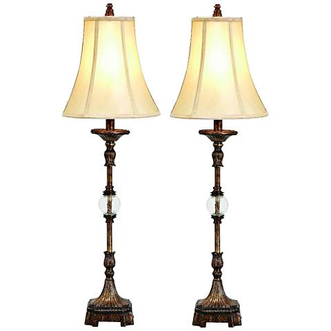 Pax Antique Brown Buffet Table Lamp Set of 2