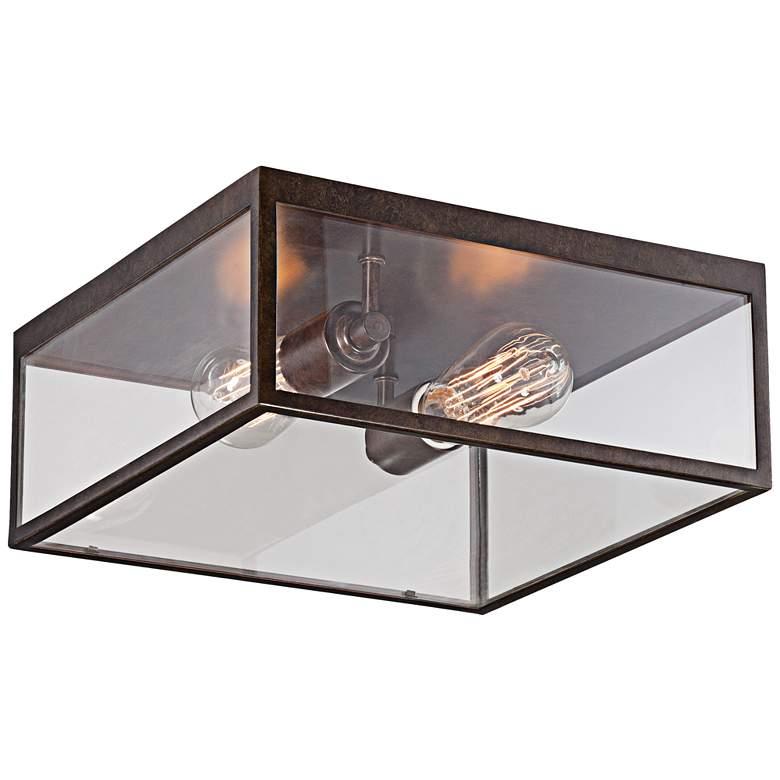 "Montesidro 12""W Bronze and Glass Outdoor Ceiling Light"