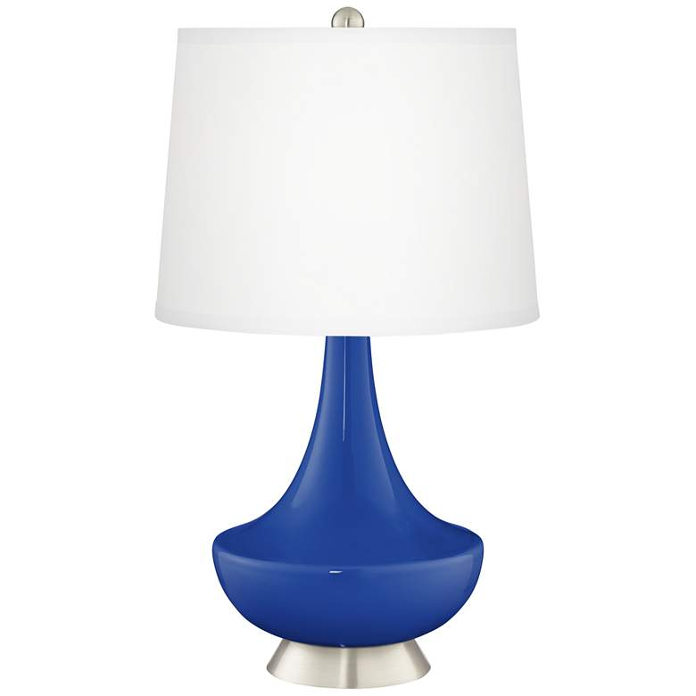 Dazzling Blue Gillan Glass Table Lamp with Dimmer