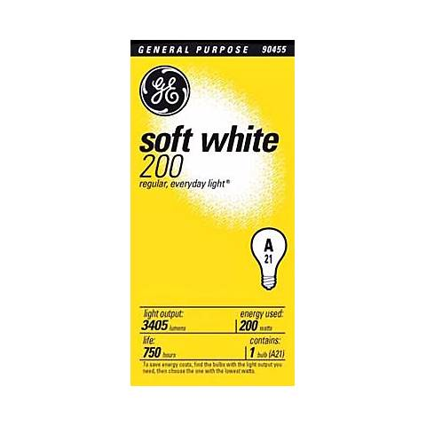 GE 200 Watt Soft White A21 Light Bulb