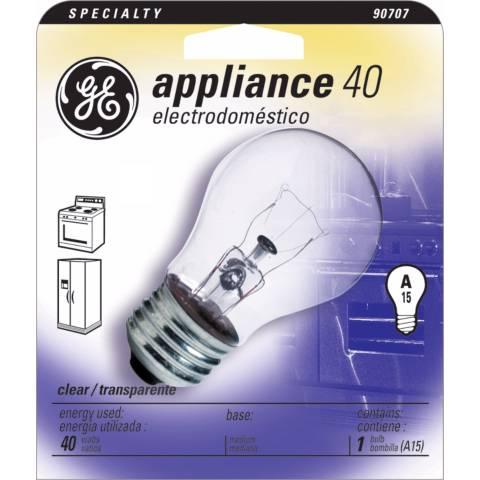 Ge 40 Watt A15 Clear Appliance Light Bulb 90707