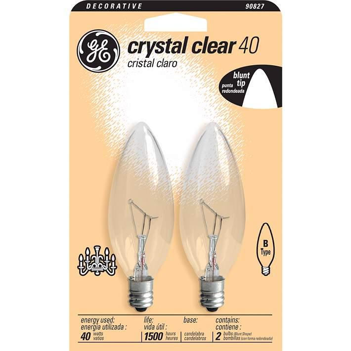 Ge 40 Watt 2 Pack Blunt Tip Clear Gl