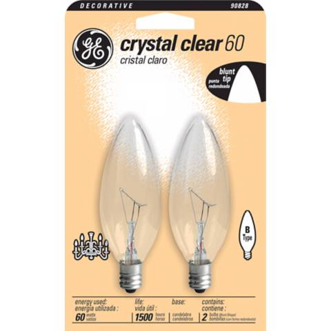 ge 60 watt 2 pack blunt tip candelabra bulbs 90828 lamps plus. Black Bedroom Furniture Sets. Home Design Ideas