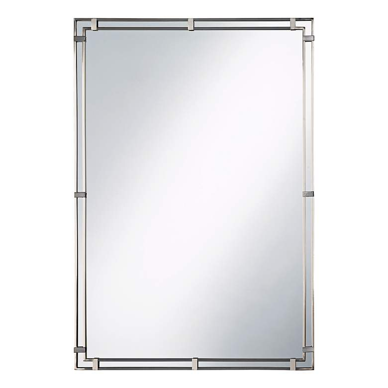 """Feiss Parker Place Brushed Steel 22"""" x 33"""" Wall Mirror"""
