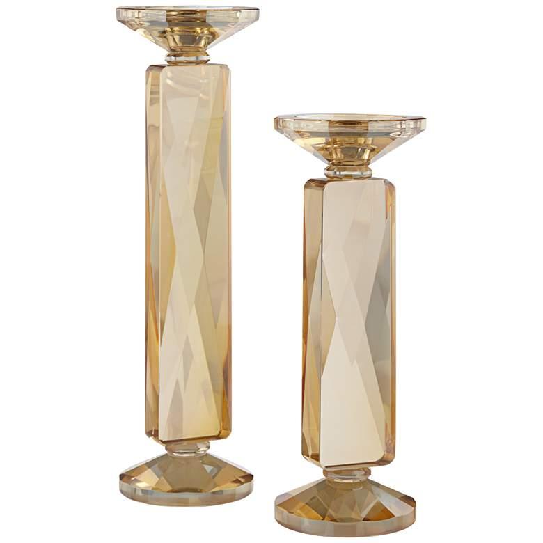 Wembley Amber Glass Pillar Candle Holders Set of 2