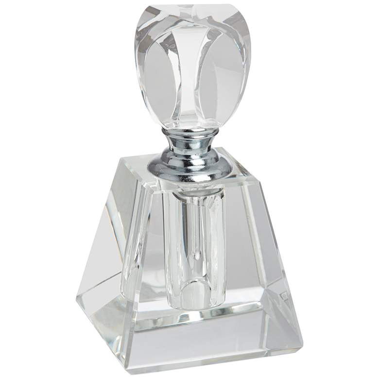 "Aston 3 3/4""H Clear Glass Pyramid Decorative Perfume Bottle"