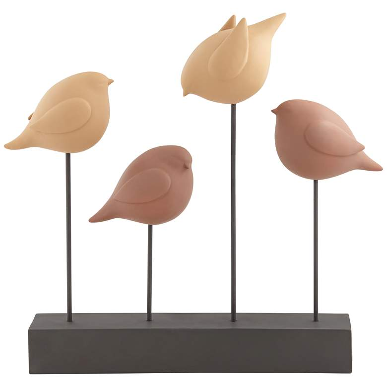 """Four Birds 17"""" High Tan and Terracotta Finish Rustic Statue Piece"""