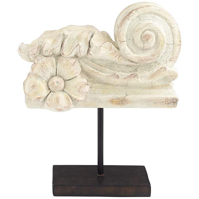 """Flower Curl 12 1/2"""" High Matte Distressed Sculpture"""