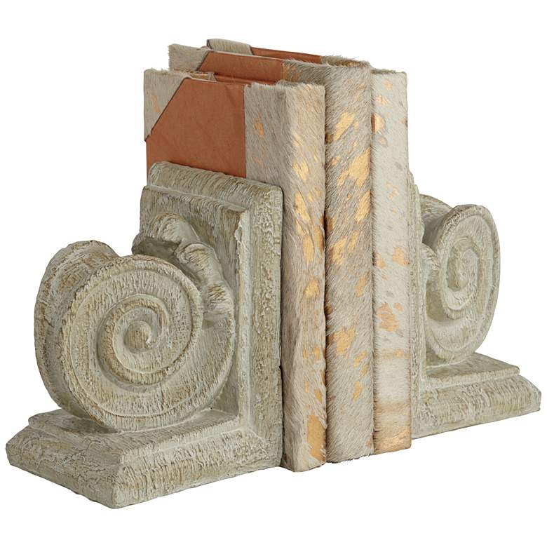 "Ammonite Swirls 6 3/4"" High Matte Wood Finish 2-Piece Bookends Set"