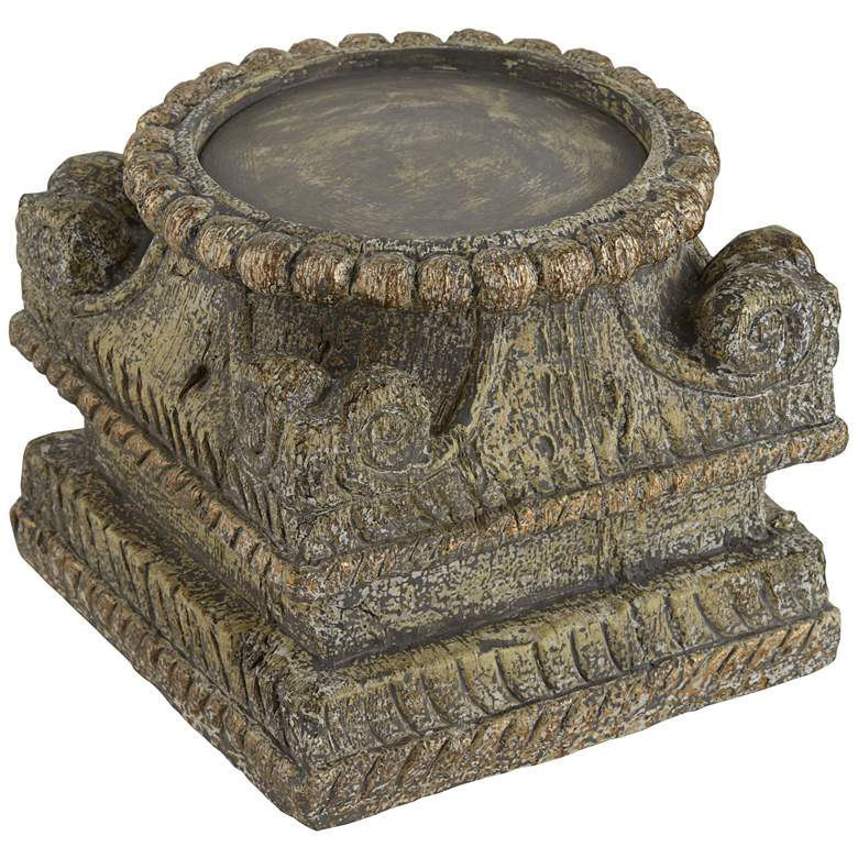 """Capital 5"""" High Antique Stone Finish Traditional Candle Base"""