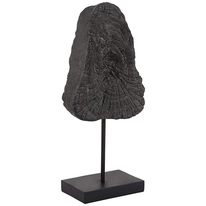 "Charcoal Wood Piece 18 3/4"" High Black Finish Decorative Sculpture"