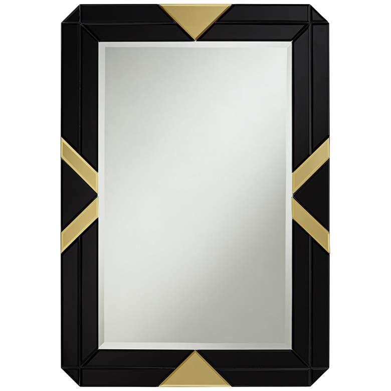 """Possini Euro Demira 28"""" x 40"""" Black and Gold Wall Mirror"""