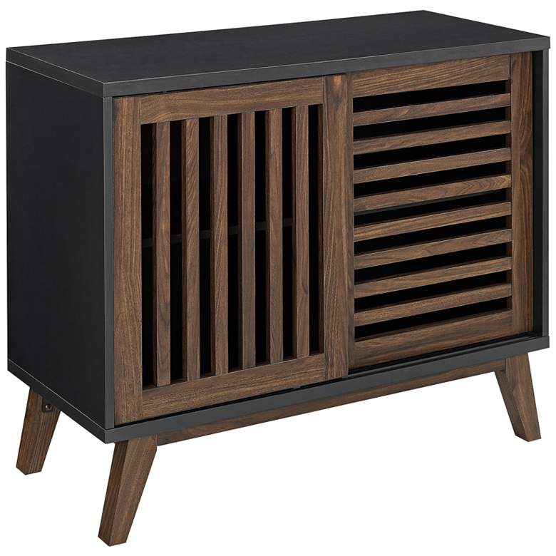 "Brea 36"" Wide Black and Dark Walnut TV Stand Storage Cabinet"