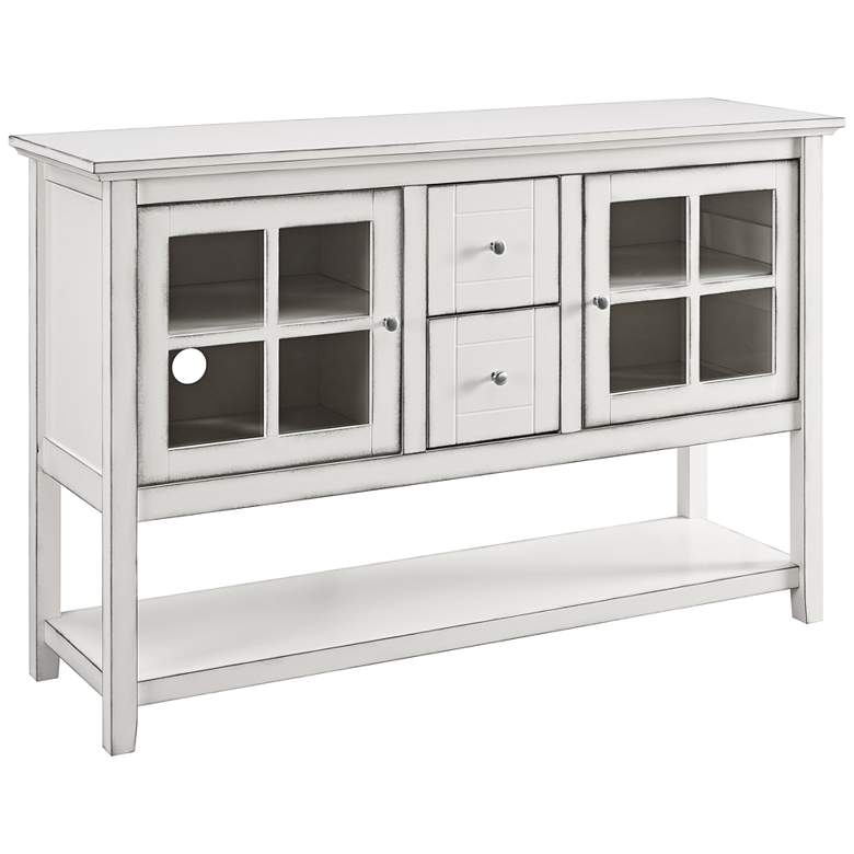 "Robson 52"" Wide Antique White Wood 2-Drawer TV Stand Buffet"