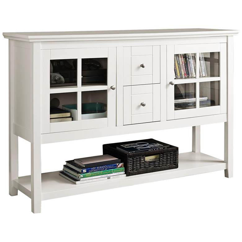 """Robson 52"""" Wide White Wood 2-Drawer TV Stand Buffet"""