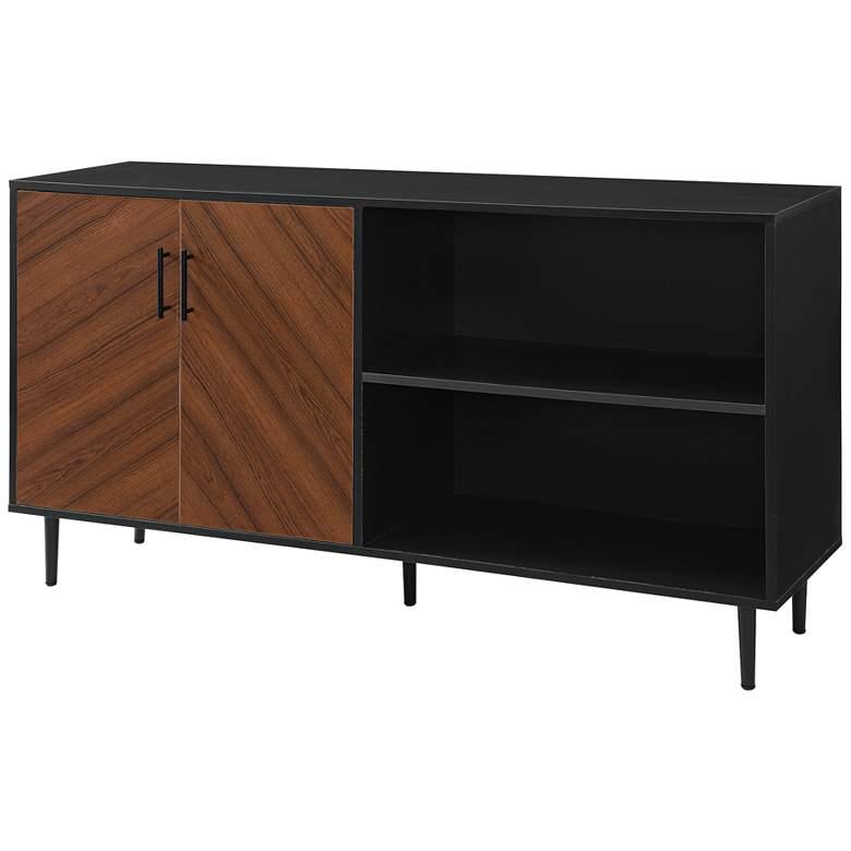 """Parker 58"""" Wide Solid Black 2-Door Wood TV Stand"""