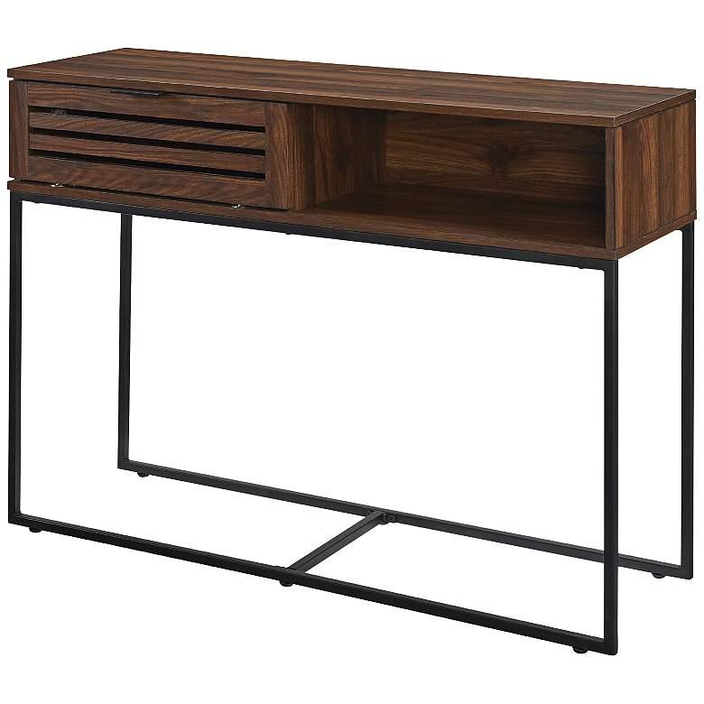 "Glenn 42"" Wide Dark Walnut Wood 1-Door Entry Table"