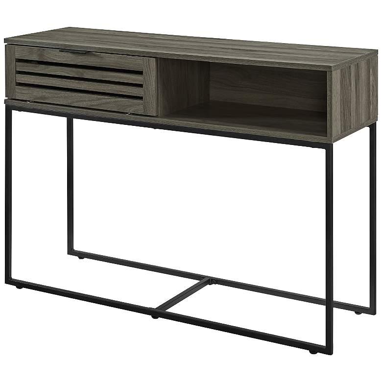 "Glenn 42"" Wide Slate Gray Wood 1-Door Entry Table"