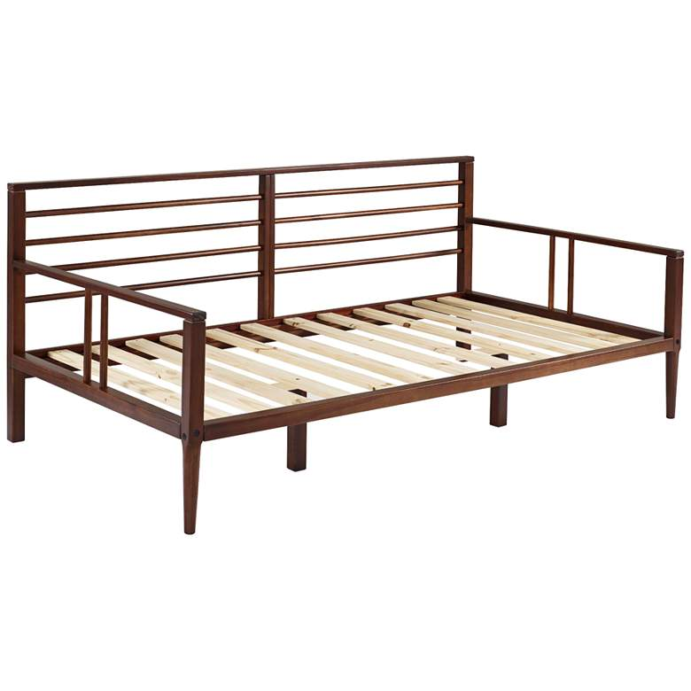 Bradley Walnut Solid Pine Wood Spindle Daybed