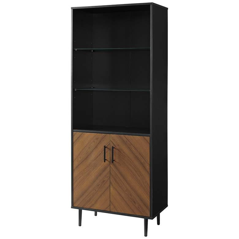 "Richmond 26"" Wide Solid Black Wood 2-Door Bookmatch Hutch"
