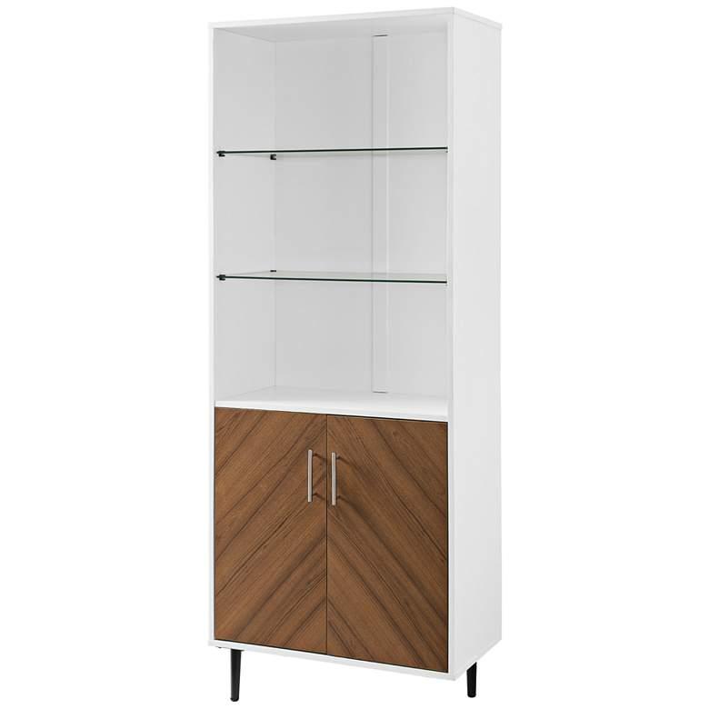 "Richmond 26"" Wide Solid White Wood 2-Door Bookmatch Hutch"