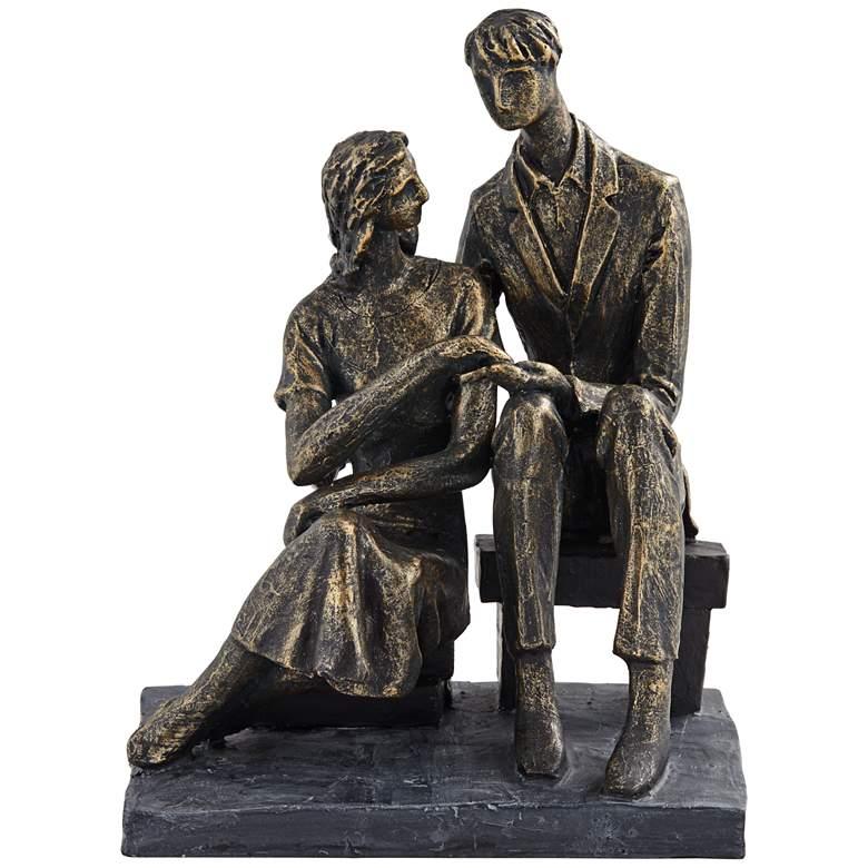 "Couple Sitting 8"" High Antique Bronze Statue"