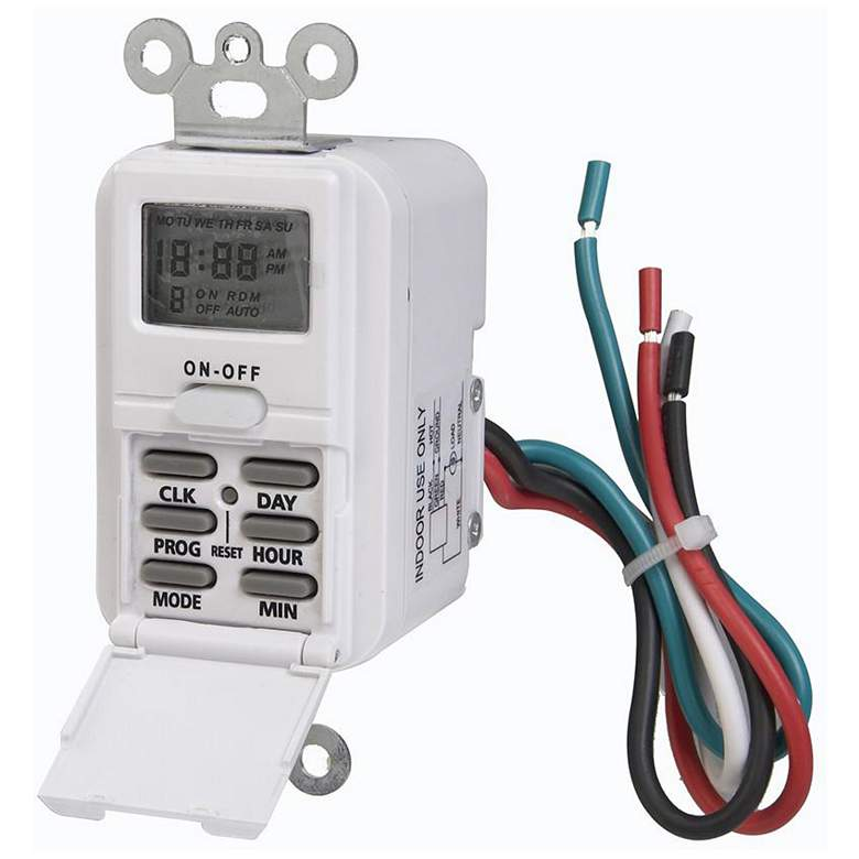 Indoor Wire-In Weekly Digital Wall Switch Timer 120V