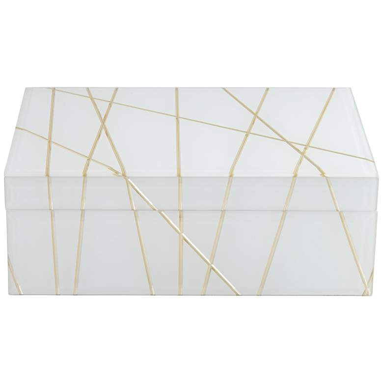 """Mocary 10 1/4"""" Wide Glossy White and Gold Stripe Jewelry Box"""