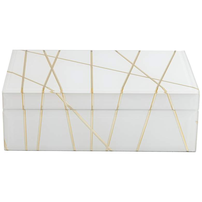 """Mocary 8 3/4"""" Wide Glossy White and Gold Stripe Jewelry Box"""