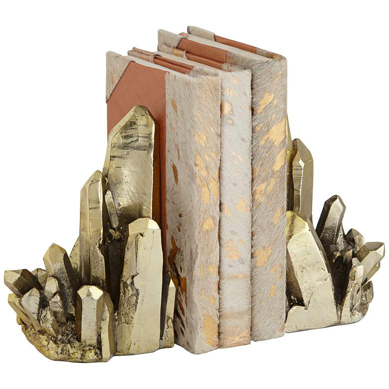 Talbot Shiny Gold Crystal Decorative Bookends