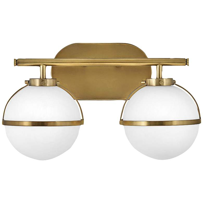 """Hollis 9 1/4"""" High Heritage Brass 2-Light LED Wall Sconce"""