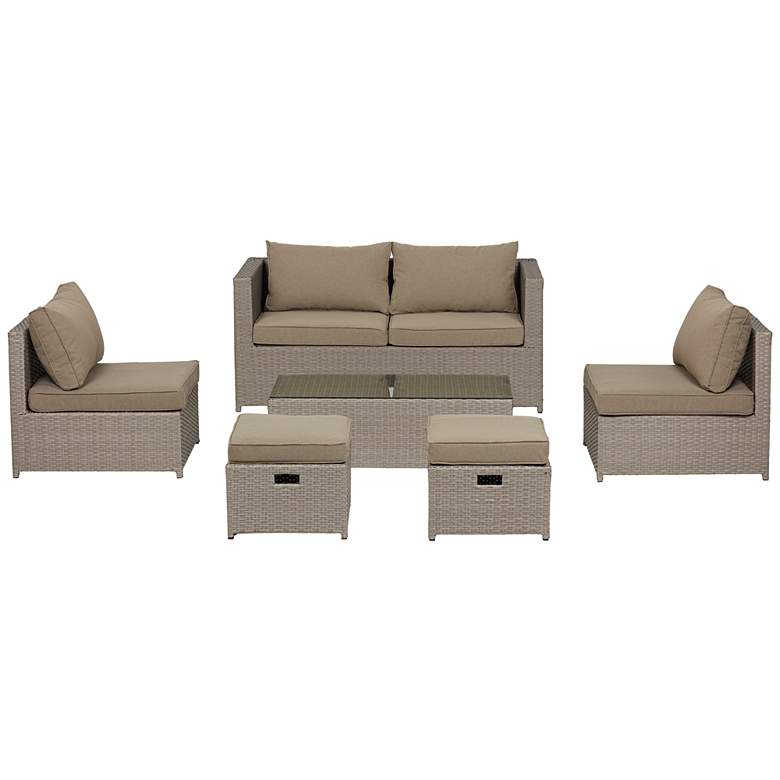 Clove Bay 6-Piece Brown Rattan Outdoor Seating Set with Coffee Table