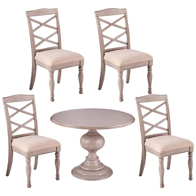 Brandsmere Gray Wood 5-Piece Dining Table and Chair Set