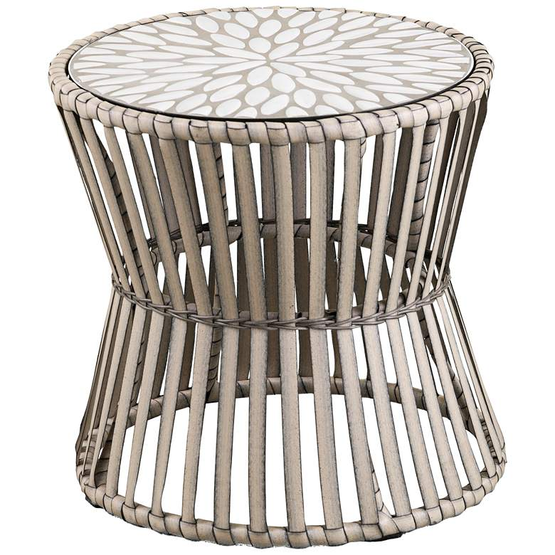 """Melilani 19 1/2"""" Wide Natural and Gray Outdoor Side Table"""