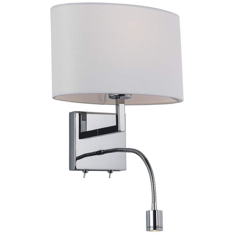 Hotel LED Wall Light in Polished Chrome with Gooseneck Light