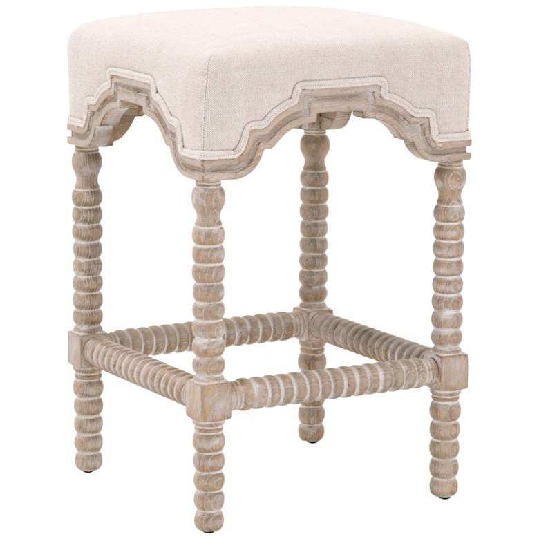 """Rue 27"""" Bisque French Linen and Natural Gray Counter Stool"""