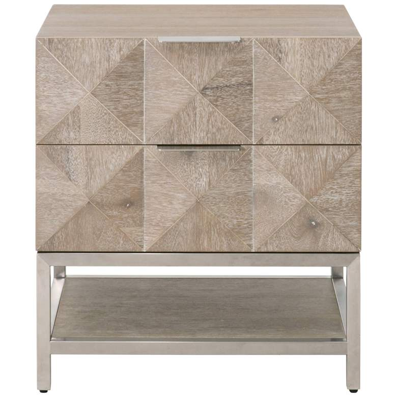 """Traditions Atlas 23 3/4""""W Natural Gray 2-Drawer Nightstand"""