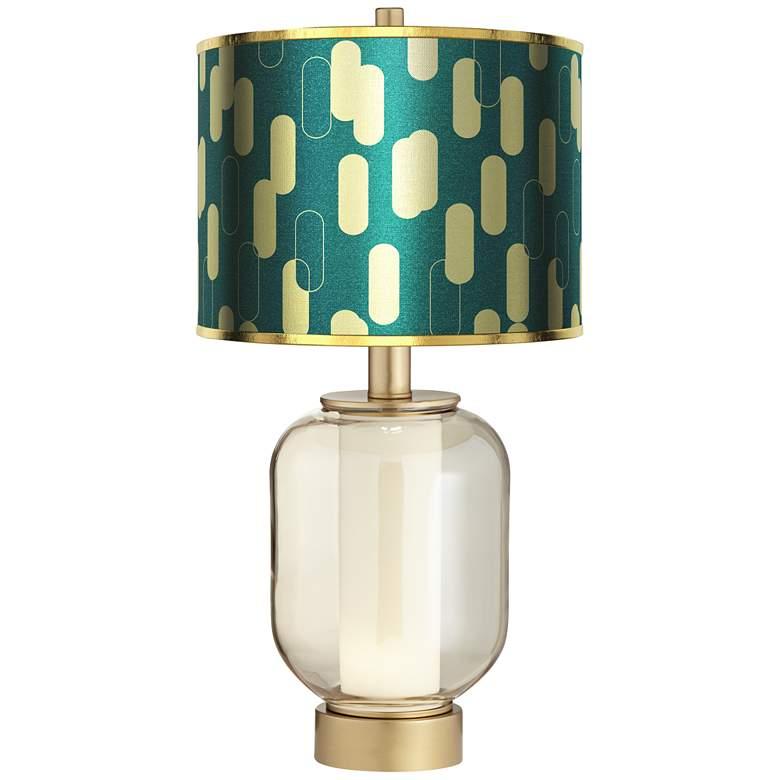 Sophia Ovals Gold Metallic Shade Night Light Table Lamp