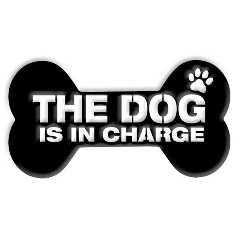 """Stiffel The Dog Is in Charge 12""""W Matte Black Metal Wall Art"""