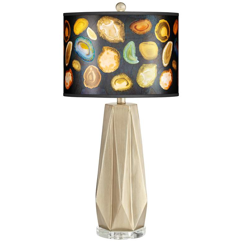 Bravo Agates and Gems Giclee Shade Champagne Table Lamp