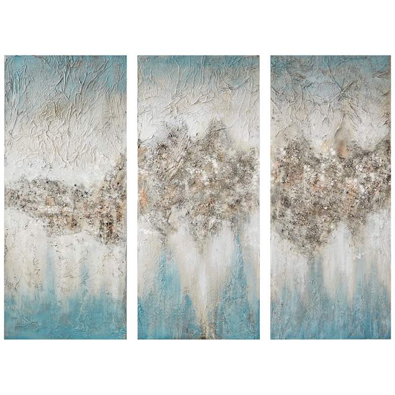 "Luminous 35""H Blue Hand-Painted 3-Piece Canvas Wall Art Set"
