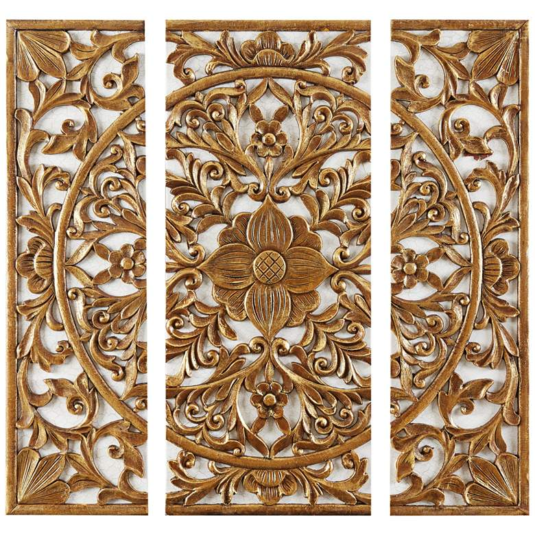 "Medallion 27 1/2""H Triptych 3-Piece 3D Canvas Wall Art Set"