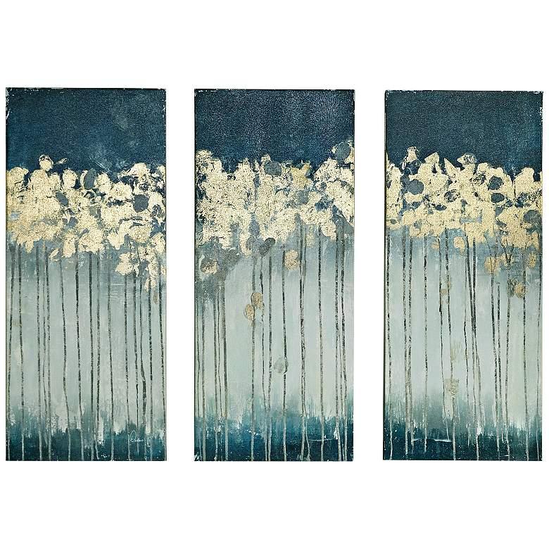 "Midnight Forest 35""H Triptych 3-Piece Canvas Wall Art Set"