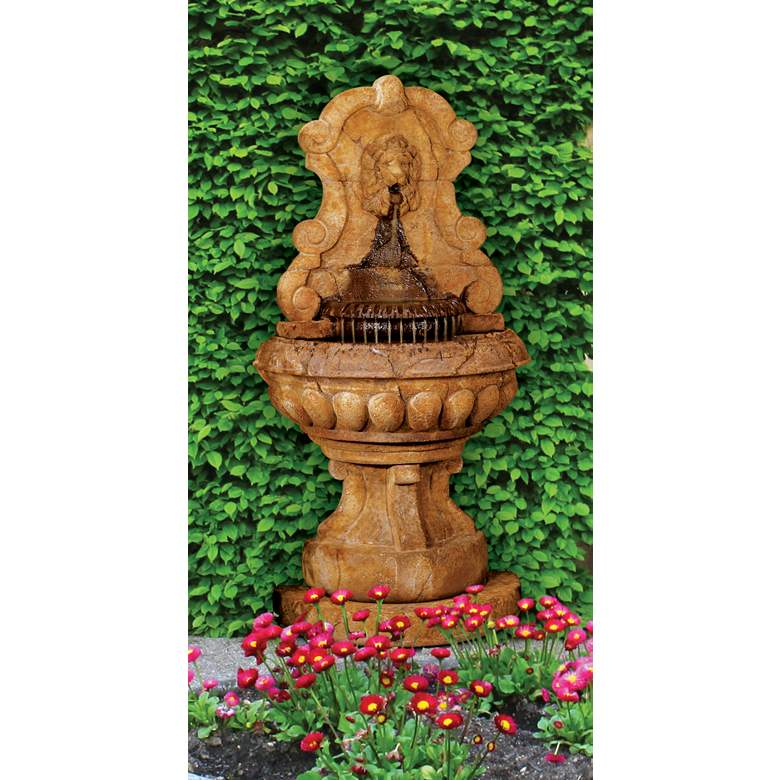 "Europa Murabella Lion 66""H Relic Lava Outdoor Wall Fountain"